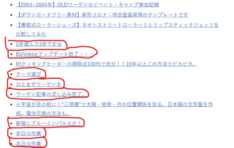 余計な記事がたくさん表示されている「サイトマップ」