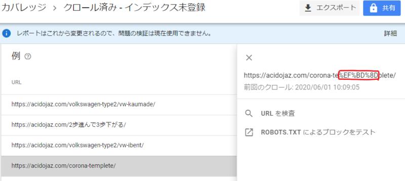 グーグルサーチコンソールの「インデックス未登録」の画面。