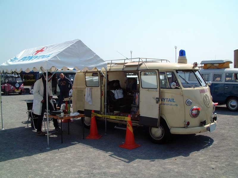 ワーゲンイベント「大洗BREATH」でのワーゲンバスの救急車。